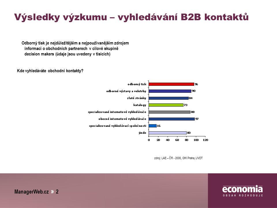 ManagerWeb.cz » 2 Výsledky výzkumu – vyhledávání B2B kontaktů Odborný tisk je nejdůležitějším a nejpoužívanějším zdrojem informací o obchodních partne