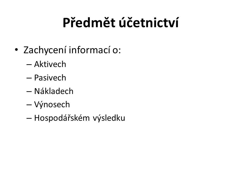 Předmět účetnictví Zachycení informací o: – Aktivech – Pasivech – Nákladech – Výnosech – Hospodářském výsledku