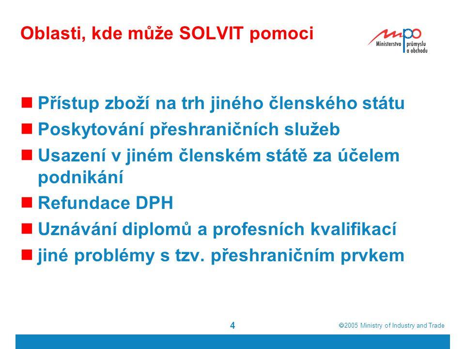  2005  Ministry of Industry and Trade 4 Oblasti, kde může SOLVIT pomoci Přístup zboží na trh jiného členského státu Poskytování přeshraničních služeb Usazení v jiném členském státě za účelem podnikání Refundace DPH Uznávání diplomů a profesních kvalifikací jiné problémy s tzv.