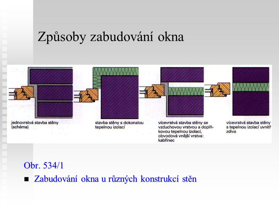 Způsoby zabudování okna Obr. 534/1 Zabudování okna u různých konstrukcí stěn