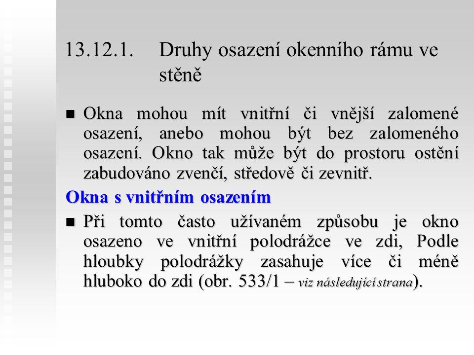 13.12.1.Druhy osazení okenního rámu ve stěně Okna mohou mít vnitřní či vnější zalomené osazení, anebo mohou být bez zalomeného osazení.