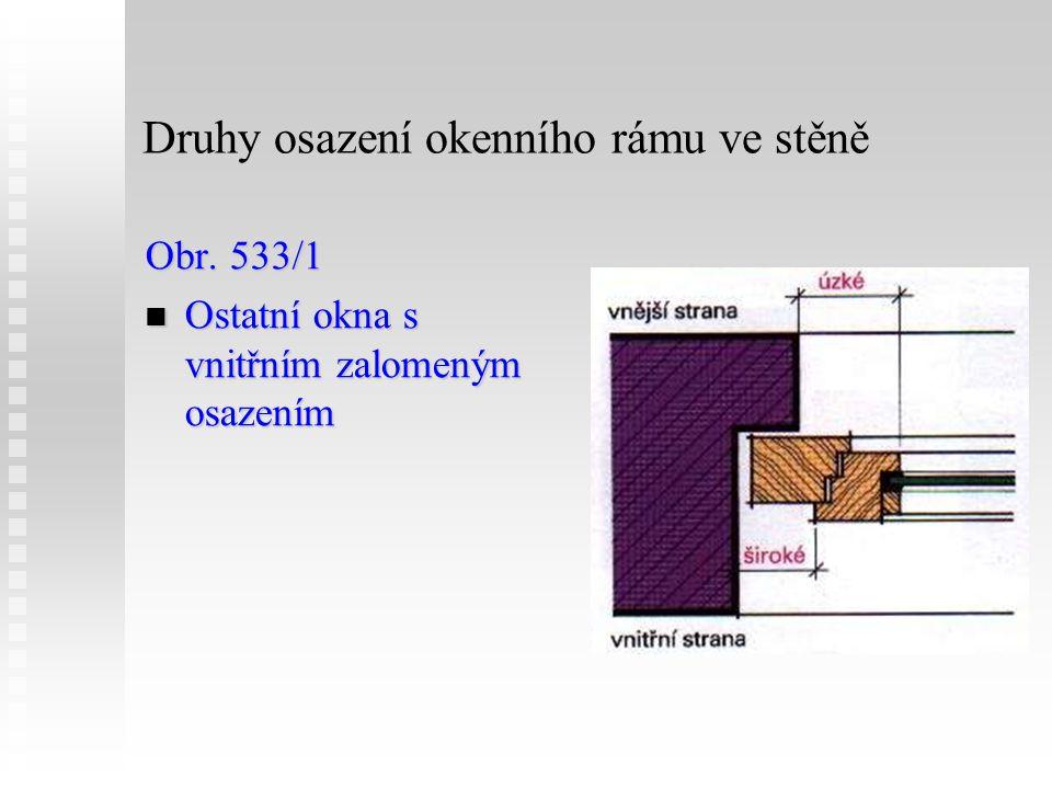 Druhy osazení okenního rámu ve stěně Obr. 533/1 Ostatní okna s vnitřním zalomeným osazením