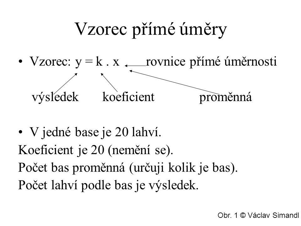 Vzorec přímé úměry Vzorec: y = k.