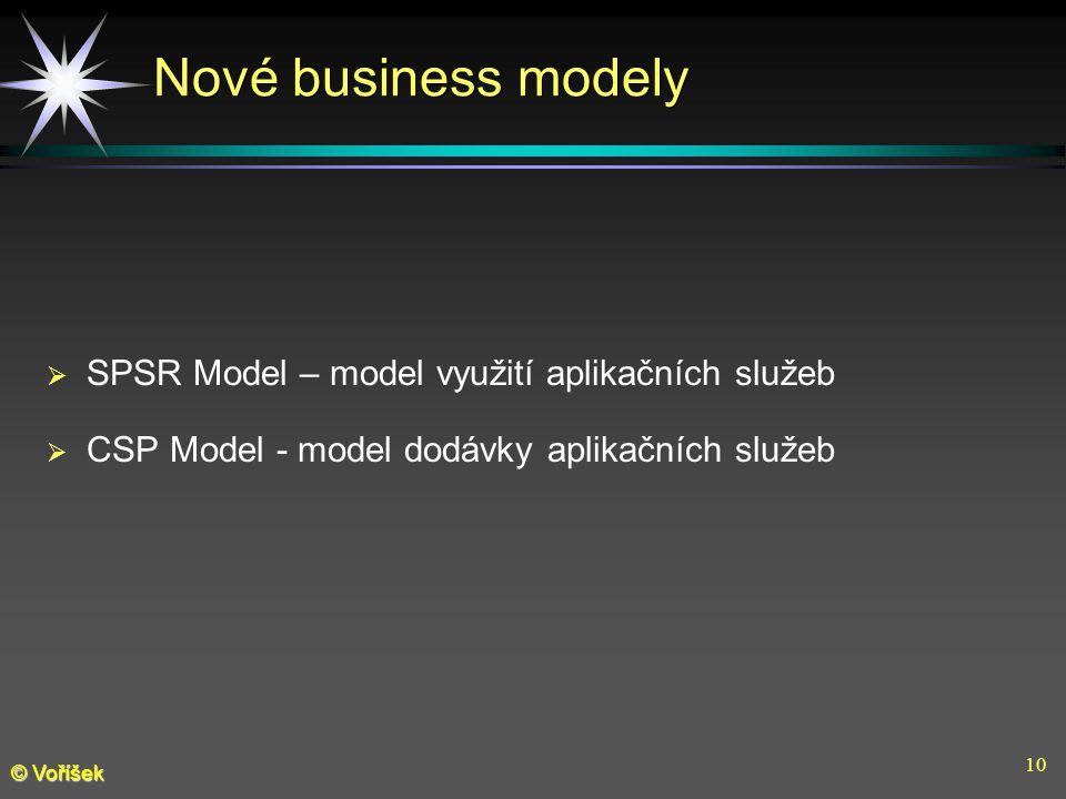 10 © Voříšek Nové business modely  SPSR Model – model využití aplikačních služeb  CSP Model - model dodávky aplikačních služeb