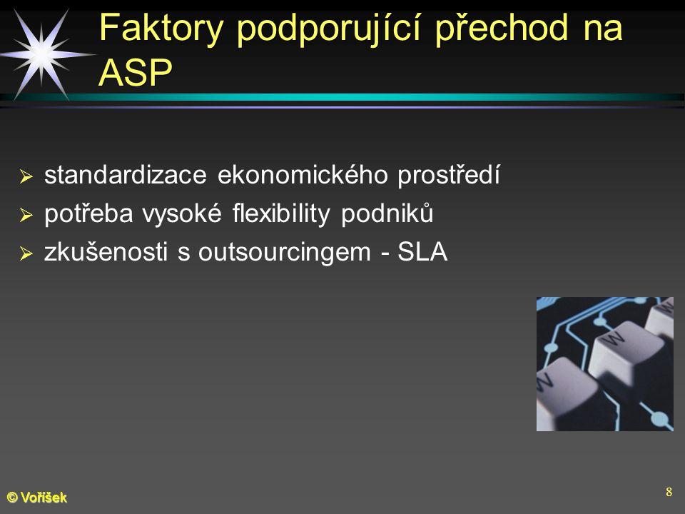 8 © Voříšek Faktory podporující přechod na ASP  standardizace ekonomického prostředí  potřeba vysoké flexibility podniků  zkušenosti s outsourcingem - SLA