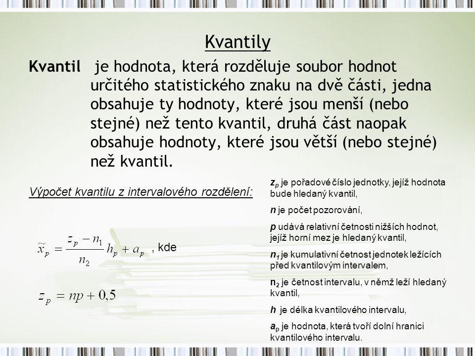 Kvantily Kvantil je hodnota, která rozděluje soubor hodnot určitého statistického znaku na dvě části, jedna obsahuje ty hodnoty, které jsou menší (nebo stejné) než tento kvantil, druhá část naopak obsahuje hodnoty, které jsou větší (nebo stejné) než kvantil.