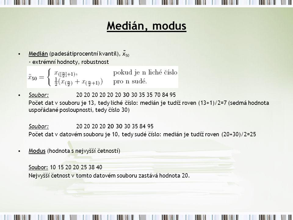 Medián, modus Medián (padesátiprocentní kvantil), x ̃ 50 - extrémní hodnoty, robustnost Soubor: 20 20 20 20 20 20 30 30 35 35 70 84 95 Počet dat v souboru je 13, tedy liché číslo: medián je tudíž roven (13+1)/2=7 (sedmá hodnota uspořádané posloupnosti, tedy číslo 30) Soubor: 20 20 20 20 20 30 30 35 84 95 Počet dat v datovém souboru je 10, tedy sudé číslo: medián je tudíž roven (20+30)/2=25 Modus (hodnota s nejvyšší četností) Soubor: 10 15 20 20 25 38 40 Nejvyšší četnost v tomto datovém souboru zastává hodnota 20.
