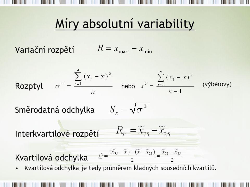 Míry absolutní variability Variační rozpětí Rozptyl Směrodatná odchylka Interkvartilové rozpětí Kvartilová odchylka Kvartilová odchylka je tedy průměrem kladných sousedních kvartilů.