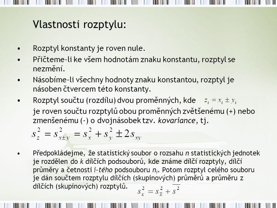 Vlastnosti rozptylu: Rozptyl konstanty je roven nule. Přičteme-li ke všem hodnotám znaku konstantu, rozptyl se nezmění. Násobíme-li všechny hodnoty zn