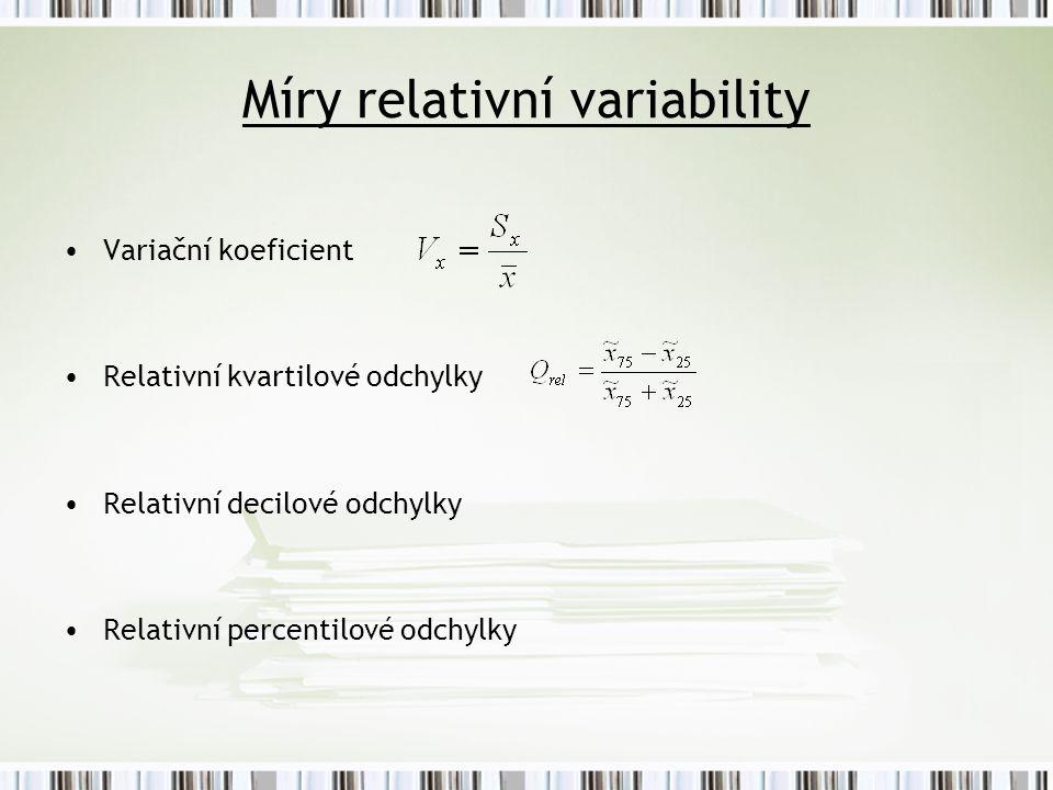 Míry relativní variability Variační koeficient Relativní kvartilové odchylky Relativní decilové odchylky Relativní percentilové odchylky