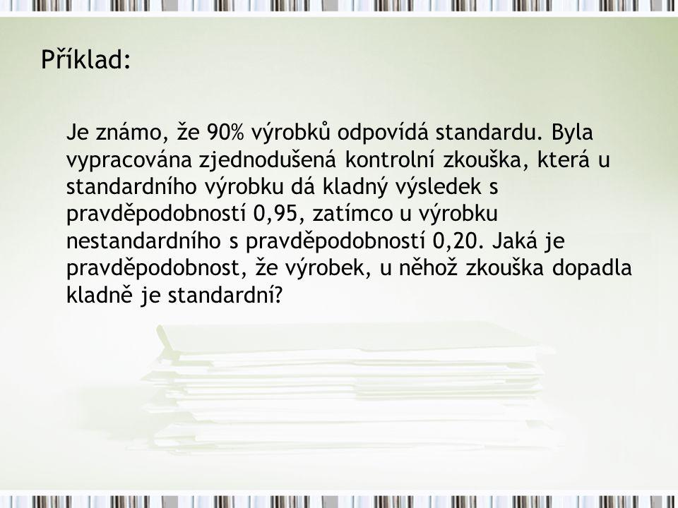 Příklad: Je známo, že 90% výrobků odpovídá standardu. Byla vypracována zjednodušená kontrolní zkouška, která u standardního výrobku dá kladný výsledek