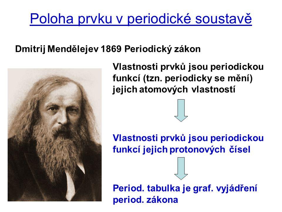 Poloha prvku v periodické soustavě Vlastnosti prvků jsou periodickou funkcí jejich protonových čísel Dmitrij Mendělejev 1869 Periodický zákon Vlastnos