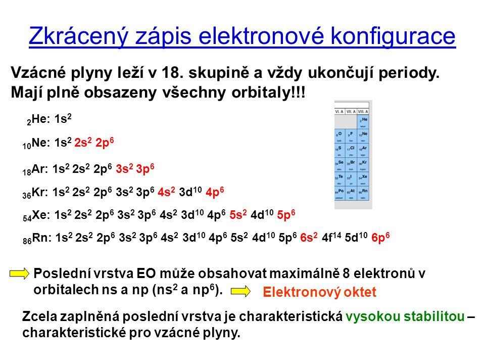 Zkrácený zápis elektronové konfigurace Vzácné plyny leží v 18. skupině a vždy ukončují periody. Mají plně obsazeny všechny orbitaly!!! 2 He: 1s 2 86 R