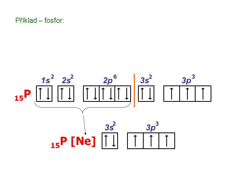1s 2s 2p 3s 3p 15 P 2226 3s 3p 15 P [Ne] 23 3 Příklad – fosfor: