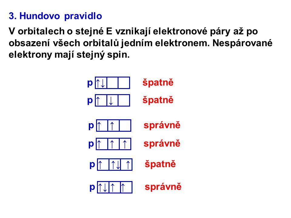 3. Hundovo pravidlo V orbitalech o stejné E vznikají elektronové páry až po obsazení všech orbitalů jedním elektronem. Nespárované elektrony mají stej