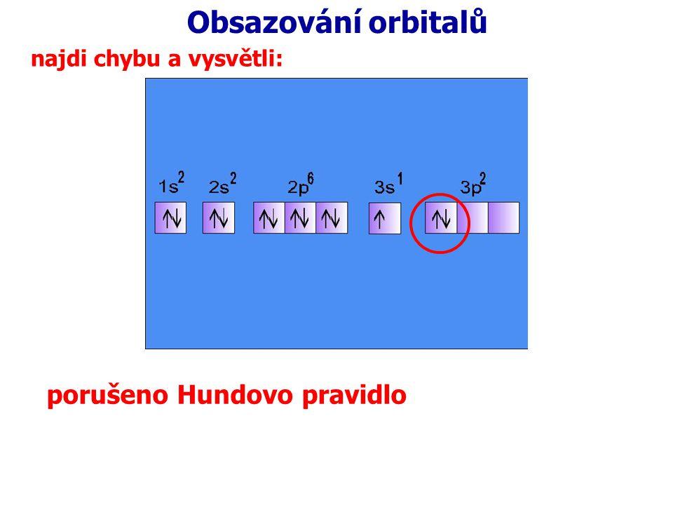 Obsazování orbitalů najdi chybu a vysvětli: porušeno Hundovo pravidlo
