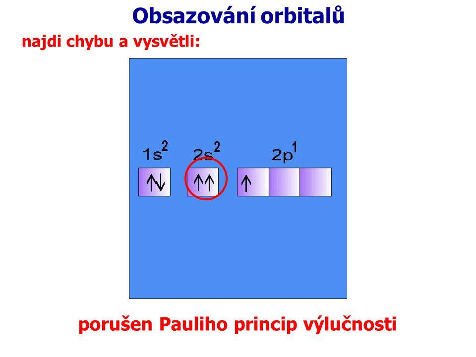 Obsazování orbitalů najdi chybu a vysvětli: porušen Pauliho princip výlučnosti