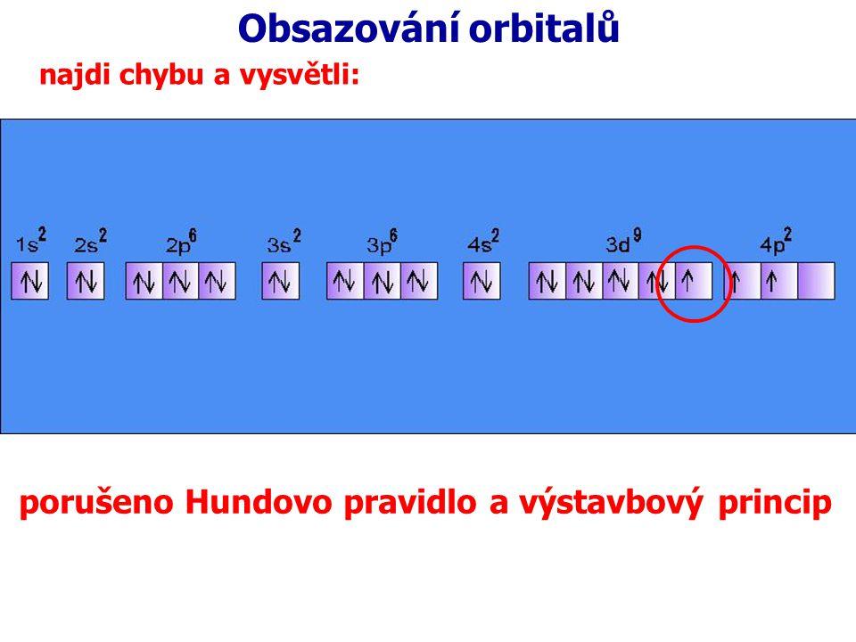 Obsazování orbitalů najdi chybu a vysvětli: porušeno Hundovo pravidlo a výstavbový princip