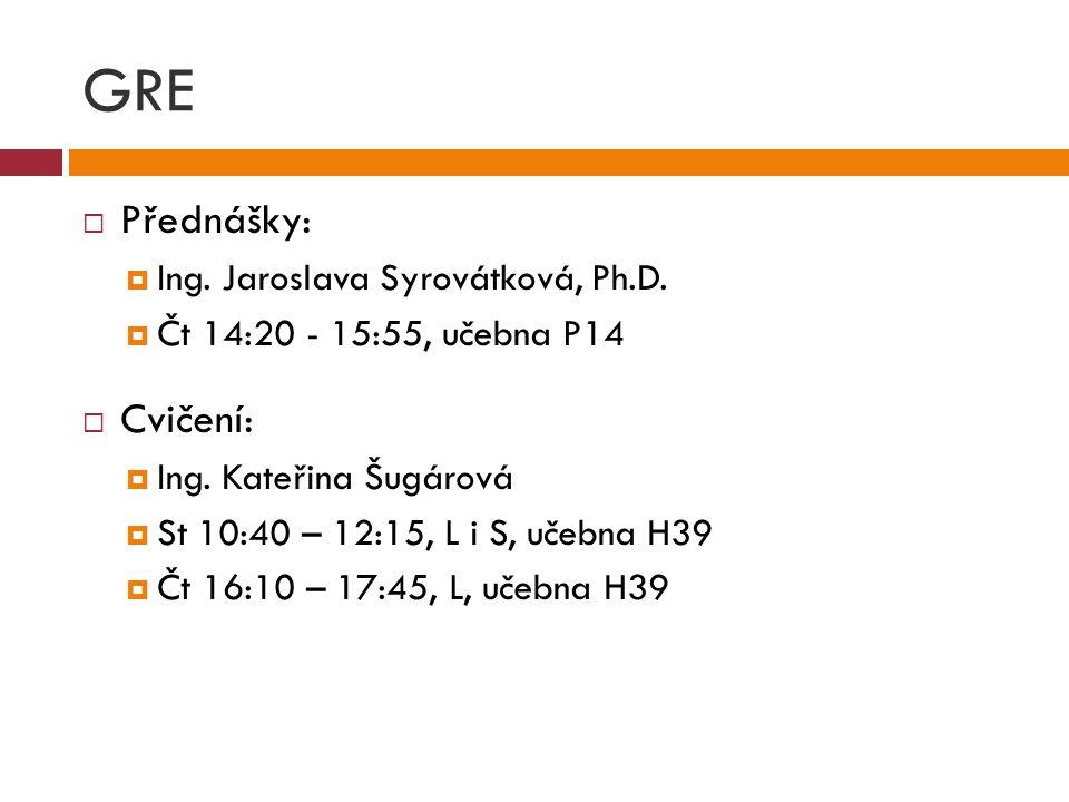 GRE  Přednášky:  Ing. Jaroslava Syrovátková, Ph.D.  Čt 14:20 - 15:55, učebna P14  Cvičení:  Ing. Kateřina Šugárová  St 10:40 – 12:15, L i S, uče