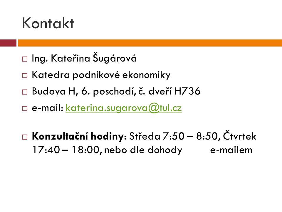 Kontakt  Ing. Kateřina Šugárová  Katedra podnikové ekonomiky  Budova H, 6. poschodí, č. dveří H736  e-mail: katerina.sugarova@tul.czkaterina.sugar