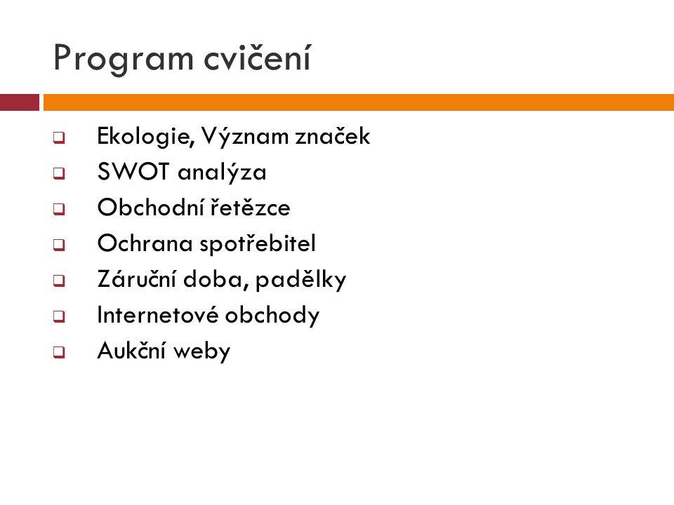 Program cvičení  Ekologie, Význam značek  SWOT analýza  Obchodní řetězce  Ochrana spotřebitel  Záruční doba, padělky  Internetové obchody  Aukč