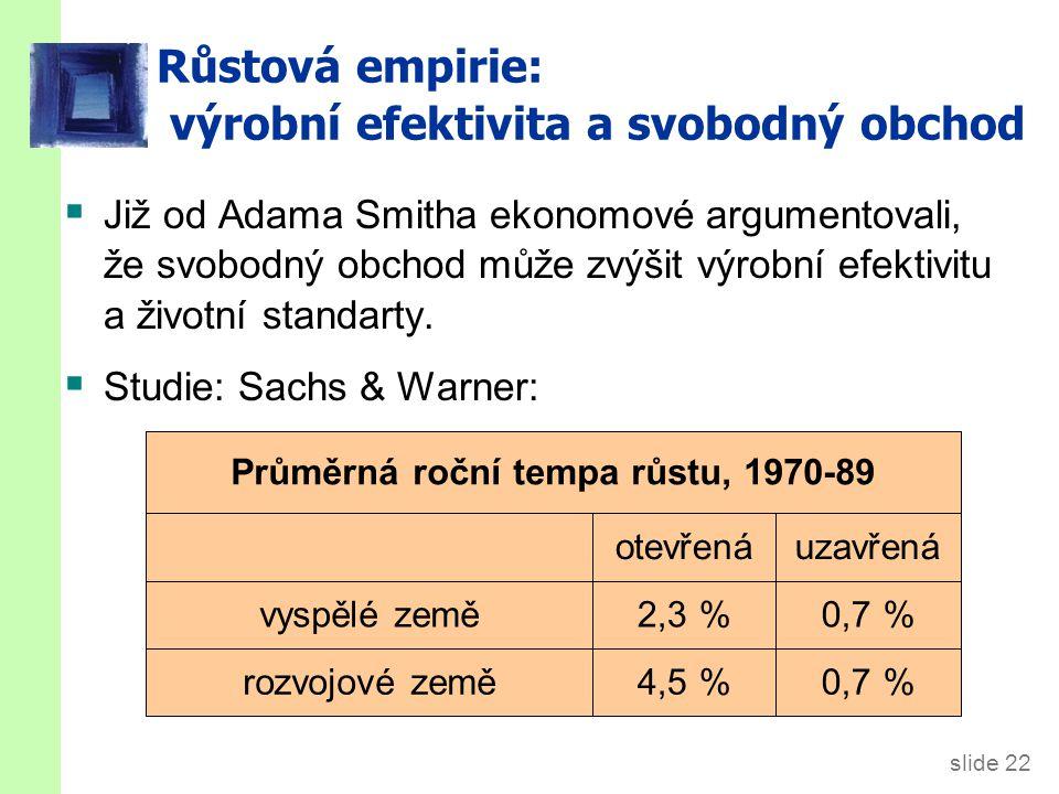 slide 22 Průměrná roční tempa růstu, 1970-89 uzavřenáotevřená Růstová empirie: výrobní efektivita a svobodný obchod  Již od Adama Smitha ekonomové ar