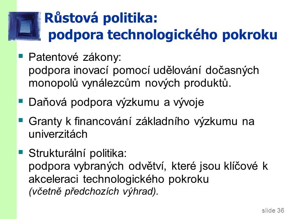 slide 36 Růstová politika: podpora technologického pokroku  Patentové zákony: podpora inovací pomocí udělování dočasných monopolů vynálezcům nových p