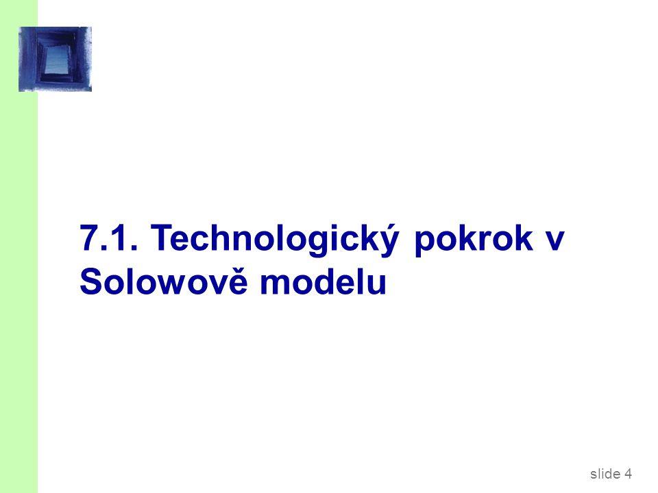 slide 5 Technologický pokrok v Solowově modelu  Nová proměnná: E = efektivita práce  Předpokládejme: Technologický pokrok rozšiřuje objem práce: zvyšuje produktivitu práce exogenní mírou g: