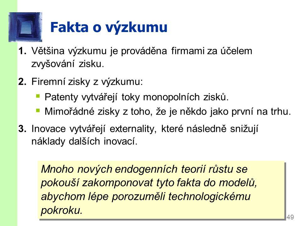 slide 49 Fakta o výzkumu 1.Většina výzkumu je prováděna firmami za účelem zvyšování zisku. 2.Firemní zisky z výzkumu:  Patenty vytvářejí toky monopol