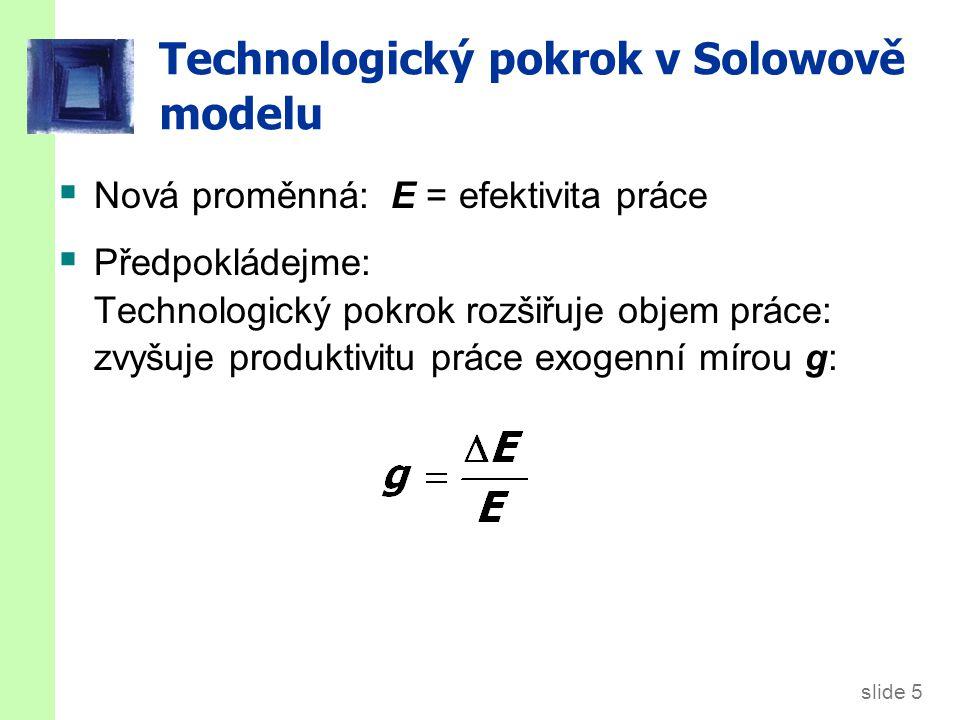 slide 5 Technologický pokrok v Solowově modelu  Nová proměnná: E = efektivita práce  Předpokládejme: Technologický pokrok rozšiřuje objem práce: zvy