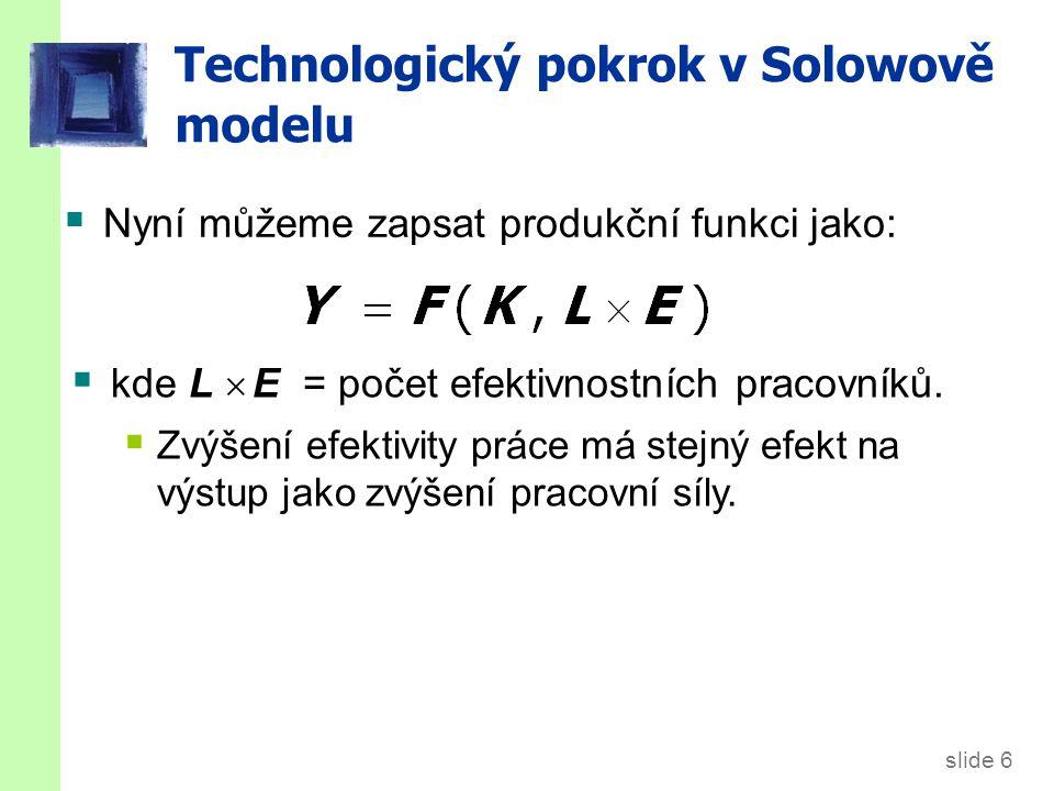 slide 7 Technologický pokrok v Solowově modelu  Značení: y = Y/LE = výstup na efektivnostního pracovníka k = K/LE = kapitál na efektivnostního pracovníka  Produkční funkce na efektivnostního pracovníka: y = f(k)  Úspory a investice na efektivnostního pracovníka: s y = s f(k)