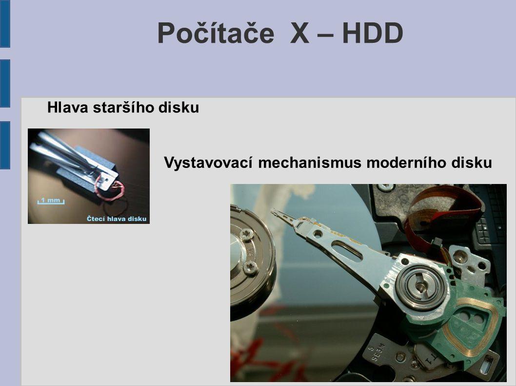 Počítače X – HDD Hlava staršího disku Vystavovací mechanismus moderního disku
