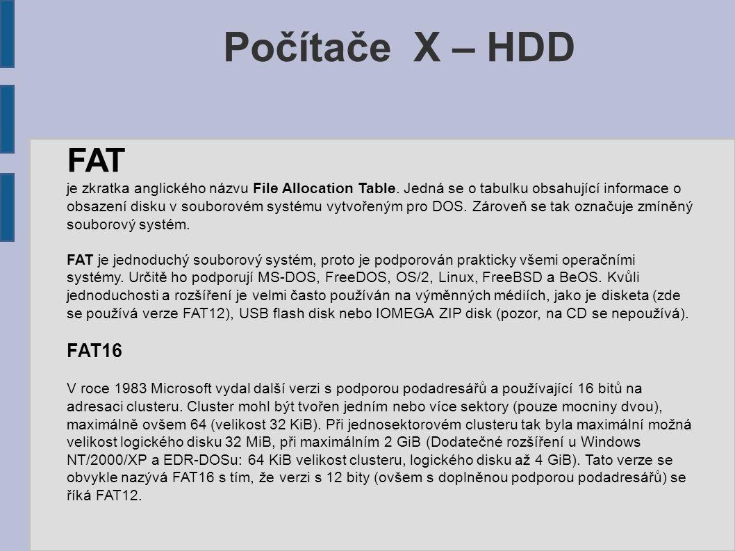 Počítače X – HDD FAT je zkratka anglického názvu File Allocation Table. Jedná se o tabulku obsahující informace o obsazení disku v souborovém systému