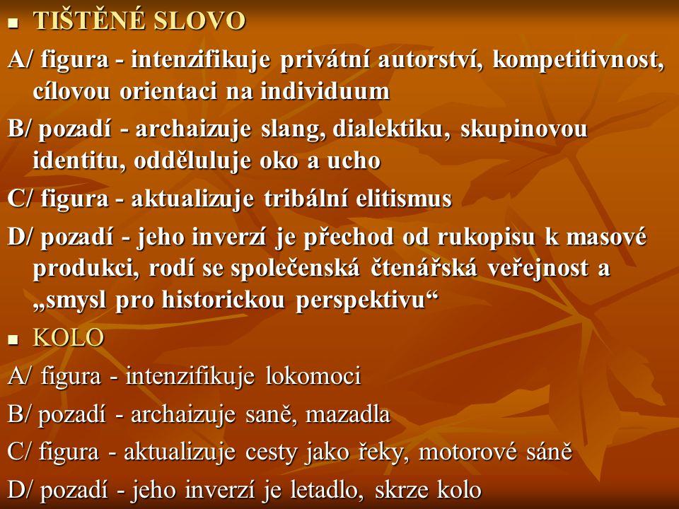 TIŠTĚNÉ SLOVO TIŠTĚNÉ SLOVO A/ figura - intenzifikuje privátní autorství, kompetitivnost, cílovou orientaci na individuum B/ pozadí - archaizuje slang