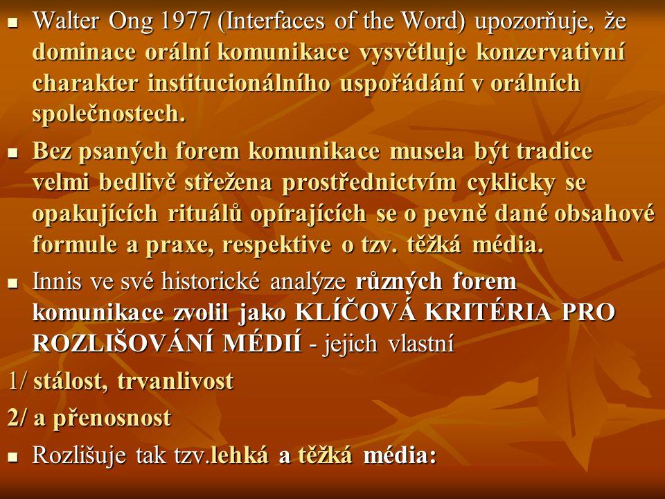 Walter Ong 1977 (Interfaces of the Word) upozorňuje, že dominace orální komunikace vysvětluje konzervativní charakter institucionálního uspořádání v o