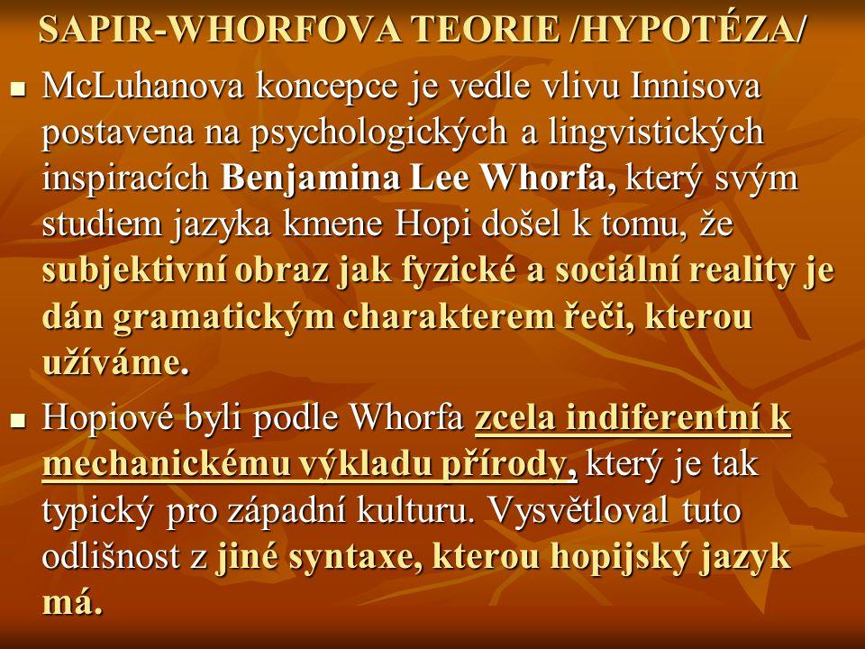 SAPIR-WHORFOVA TEORIE /HYPOTÉZA/ SAPIR-WHORFOVA TEORIE /HYPOTÉZA/ McLuhanova koncepce je vedle vlivu Innisova postavena na psychologických a lingvisti