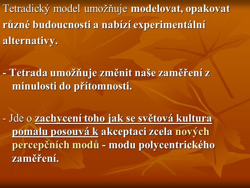 Tetradický model umožňuje modelovat, opakovat různé budoucnosti a nabízí experimentální alternativy. - Tetrada umožňuje změnit naše zaměření z minulos