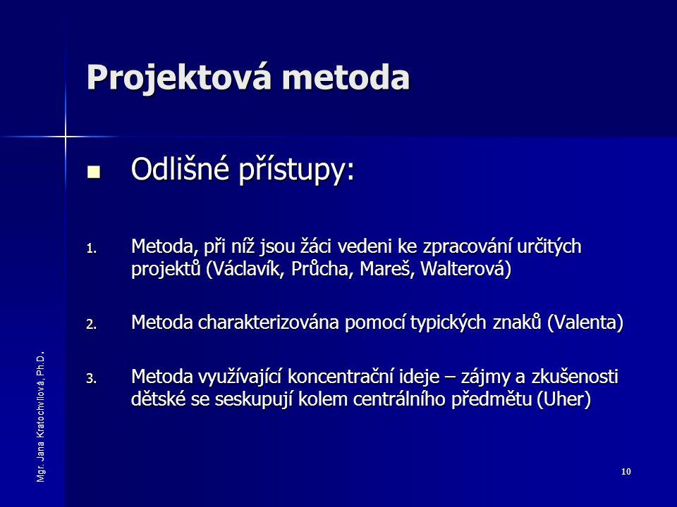 10 Projektová metoda Odlišné přístupy: Odlišné přístupy: 1. Metoda, při níž jsou žáci vedeni ke zpracování určitých projektů (Václavík, Průcha, Mareš,