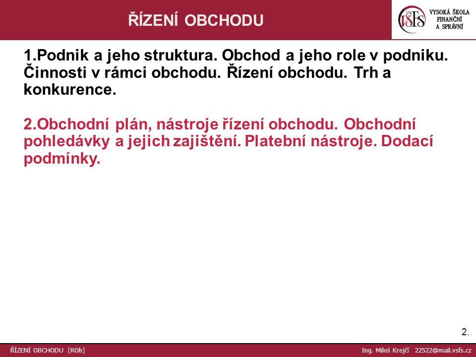 23.Děkuji za pozornost Ing. Miloš Krejčí 22522@mail.vsfs.cz ŘÍZENÍ OBCHODU [ROb] Ing.