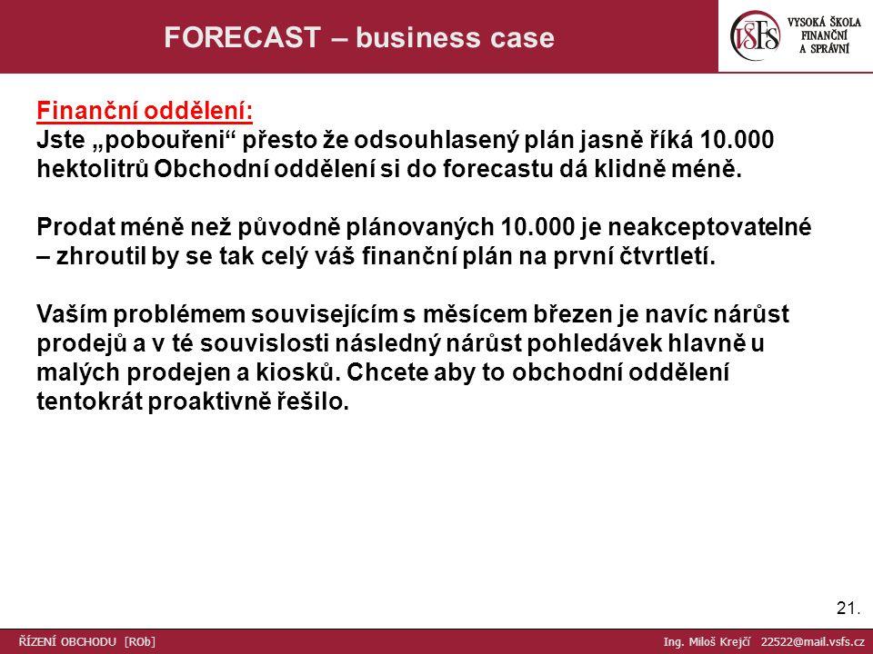 """21. FORECAST – business case Finanční oddělení: Jste """"pobouřeni"""" přesto že odsouhlasený plán jasně říká 10.000 hektolitrů Obchodní oddělení si do fore"""