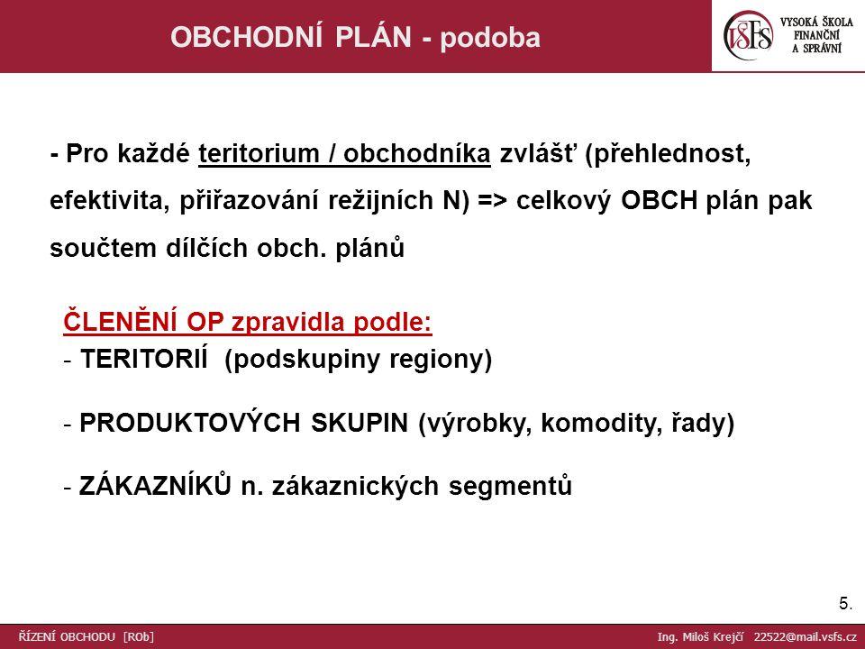 5.5. OBCHODNÍ PLÁN - podoba - Pro každé teritorium / obchodníka zvlášť (přehlednost, efektivita, přiřazování režijních N) => celkový OBCH plán pak sou