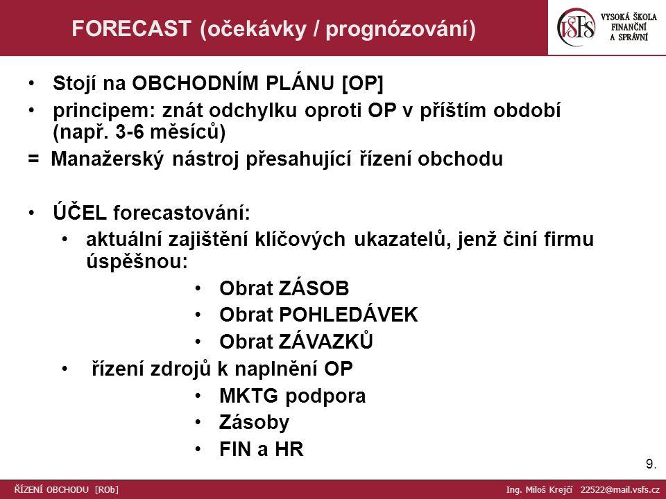 9.9. FORECAST (očekávky / prognózování) Stojí na OBCHODNÍM PLÁNU [OP] principem: znát odchylku oproti OP v příštím období (např. 3-6 měsíců) = Manažer