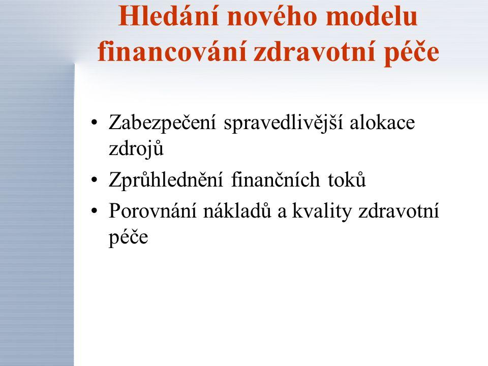 Zabezpečení spravedlivější alokace zdrojů Zprůhlednění finančních toků Porovnání nákladů a kvality zdravotní péče Hledání nového modelu financování zd