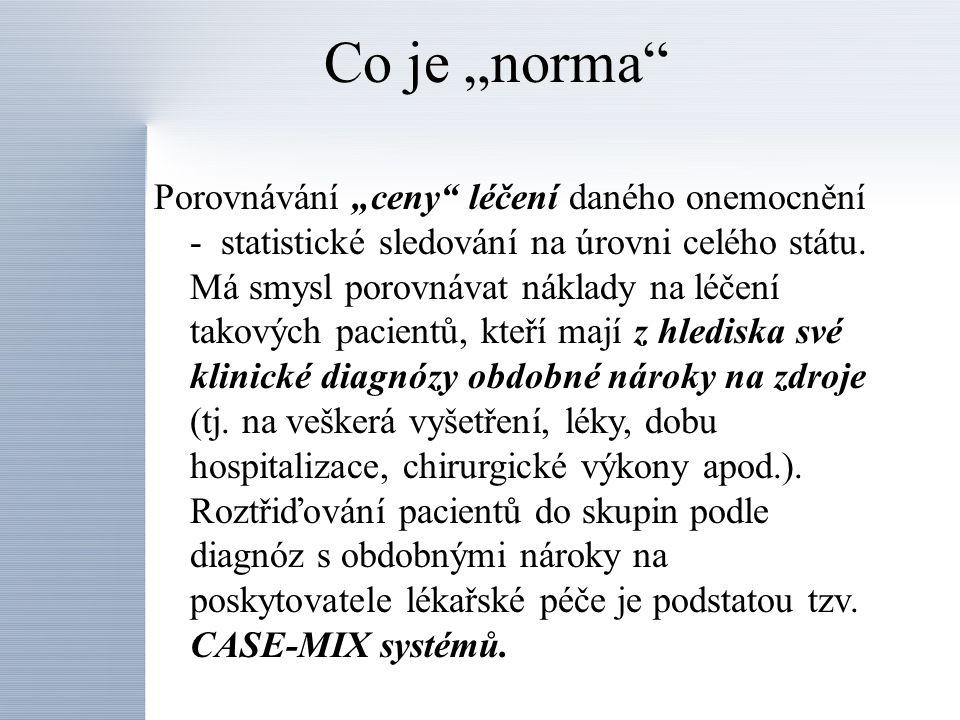 CASE-MIX systémy Ambulance Nemocniční akutní lůžka APG (Ambulatory Patients Groups) DRG ( Diagnosis Related Groups) PMC ( Patients Management Groups) RUG (Resource Utilisation Groups) Nemocniční neakutní lůžka CASE-MIX systémy