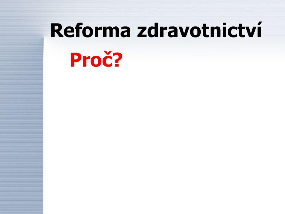 Reforma zdravotnictví Proč?