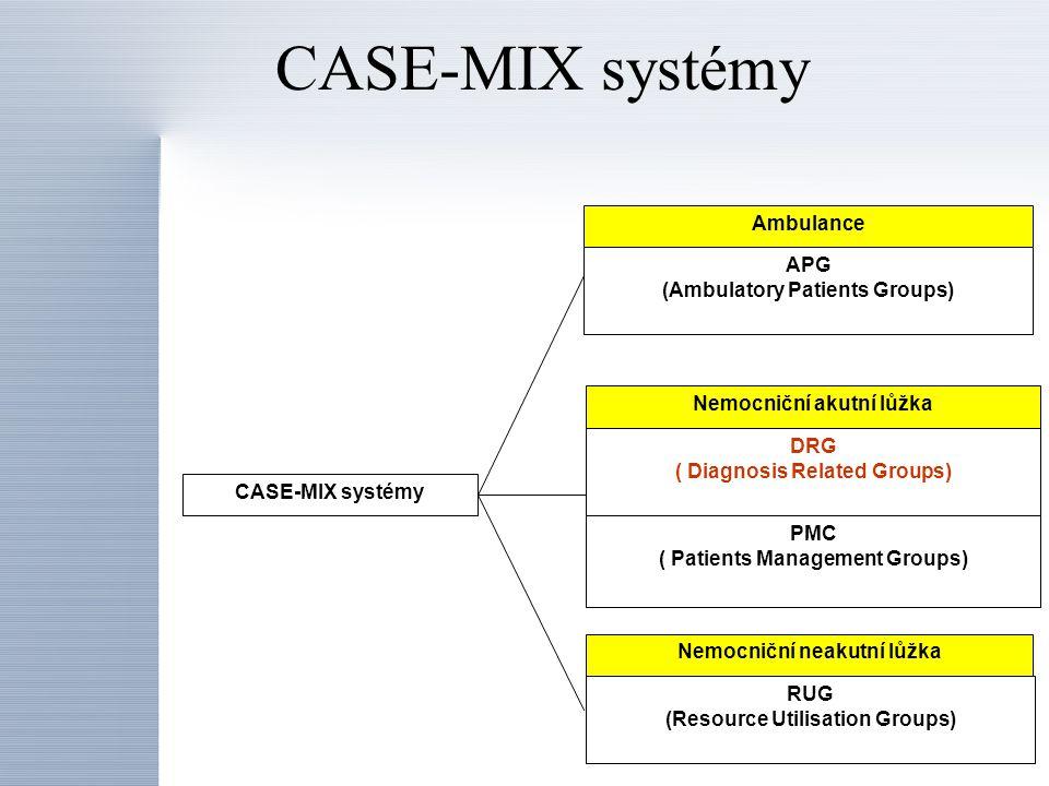 Ambulance Nemocniční akutní lůžka APG (Ambulatory Patients Groups) DRG ( Diagnosis Related Groups) PMC ( Patients Management Groups) RUG (Resource Uti
