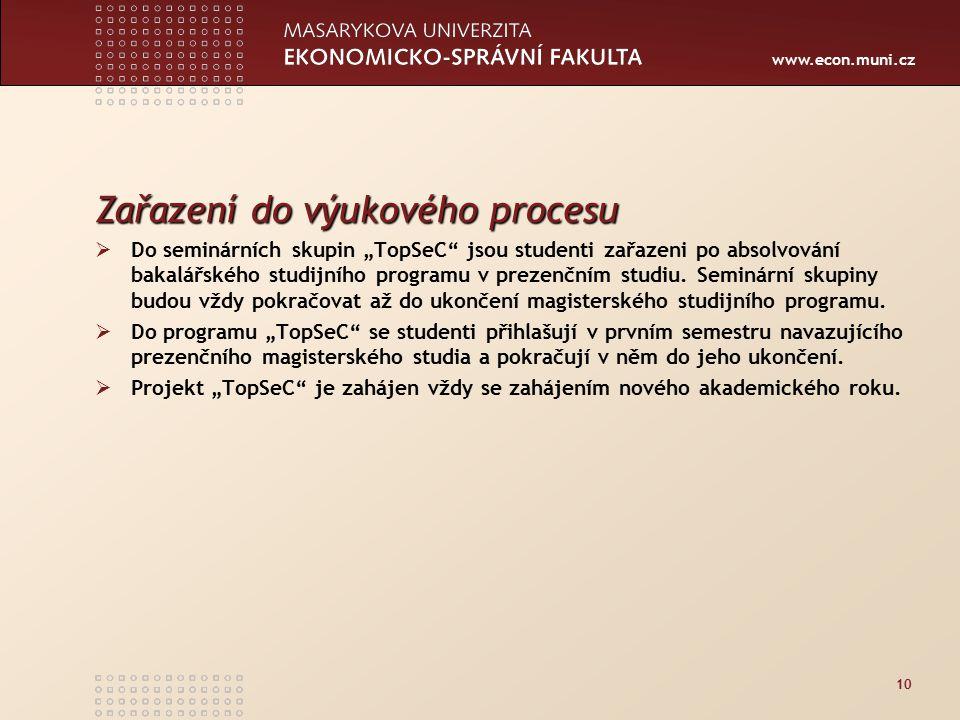 """www.econ.muni.cz 10 Zařazení do výukového procesu  Do seminárních skupin """"TopSeC jsou studenti zařazeni po absolvování bakalářského studijního programu v prezenčním studiu."""