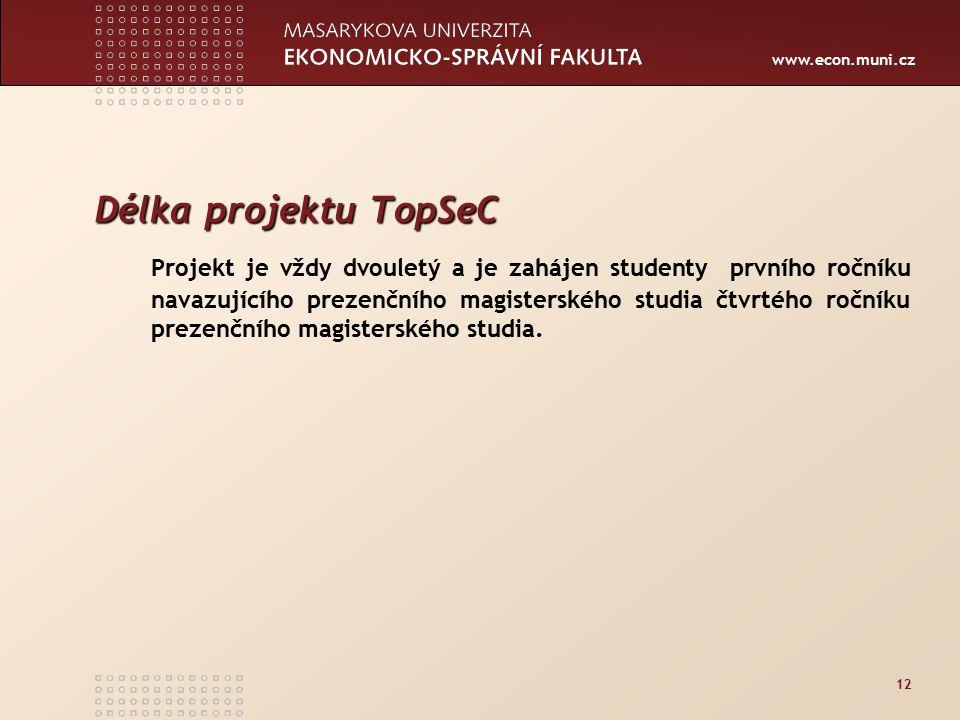 www.econ.muni.cz 12 Délka projektu TopSeC Projekt je vždy dvouletý a je zahájen studenty prvního ročníku navazujícího prezenčního magisterského studia čtvrtého ročníku prezenčního magisterského studia.