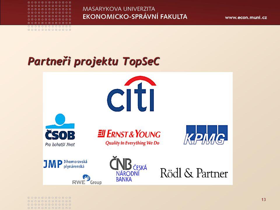 www.econ.muni.cz 13 Partneři projektu TopSeC