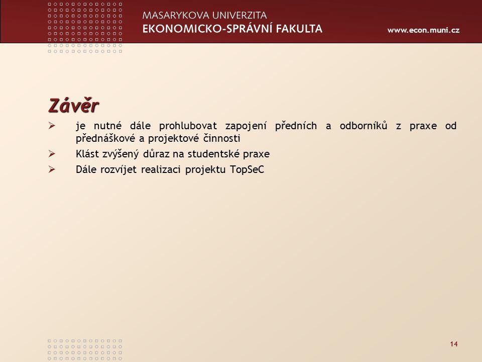 www.econ.muni.cz 14 Závěr  je nutné dále prohlubovat zapojení předních a odborníků z praxe od přednáškové a projektové činnosti  Klást zvýšený důraz na studentské praxe  Dále rozvíjet realizaci projektu TopSeC
